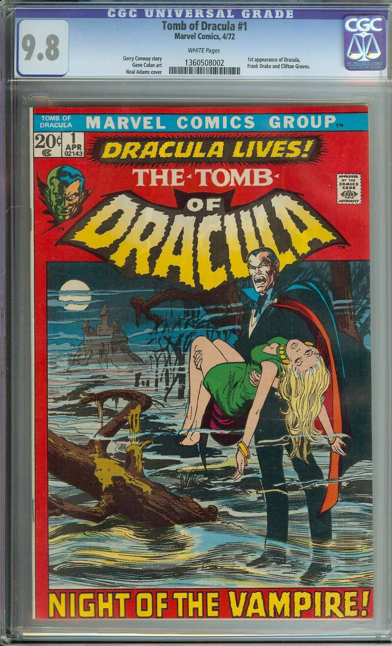 TOMB OF DRACULA #1 CGC 9.8 WHITE PAGES