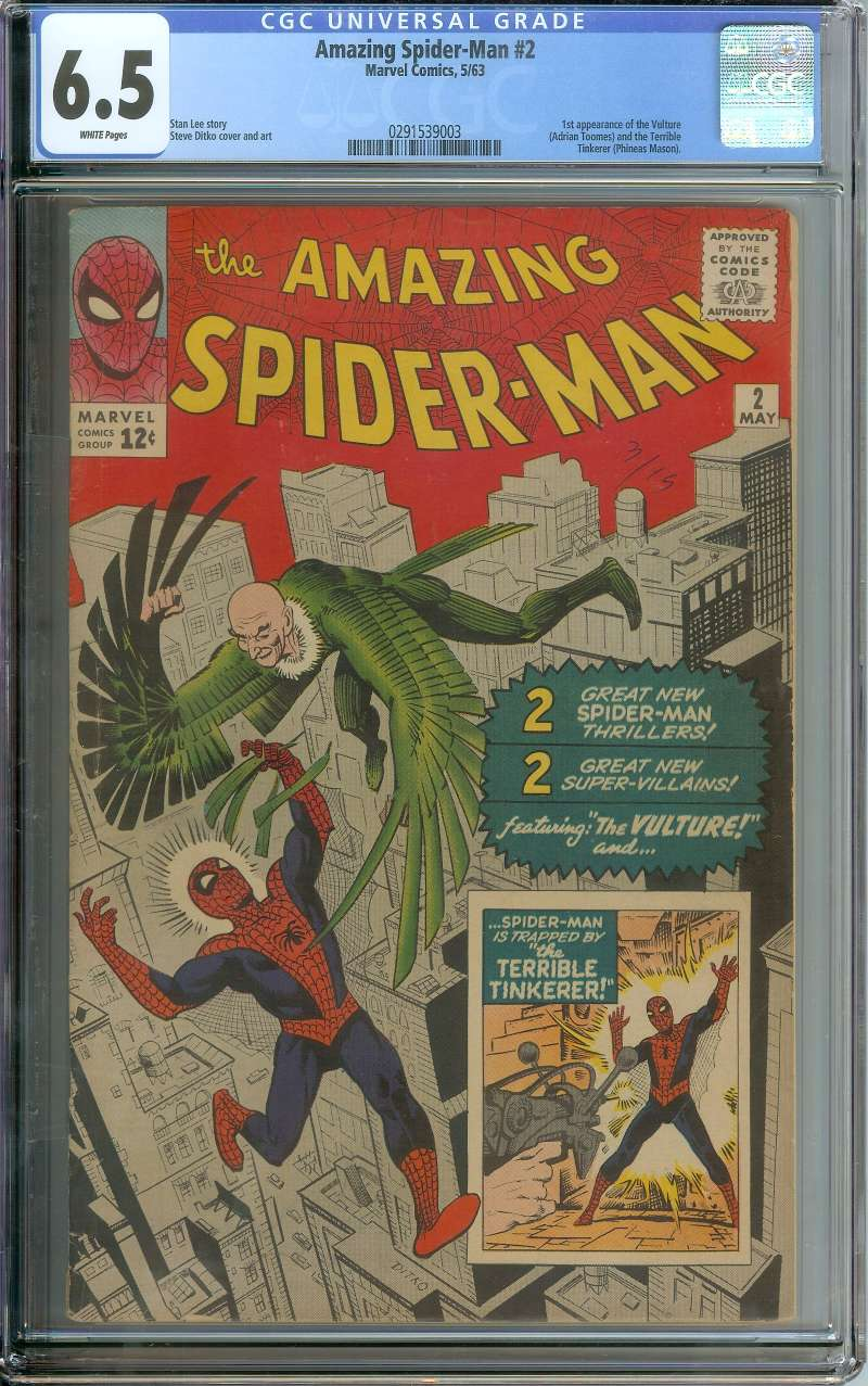 AMAZING SPIDER-MAN #2 CGC 6.5 WHITE PAGES
