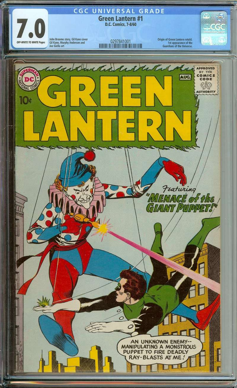 GREEN LANTERN #1 CGC 7.0 OW/WH PAGES