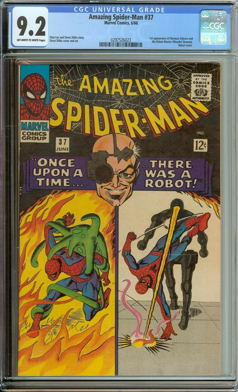 AMAZING SPIDER-MAN #37 CGC 9.2 OW/WH PAGES