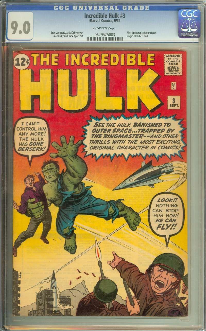 INCREDIBLE HULK #3 CGC 9.0 OW PAGES