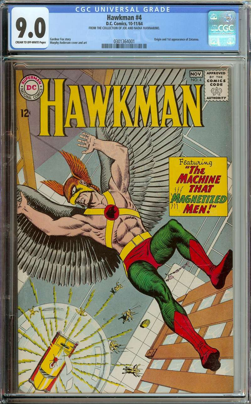 HAWKMAN #4 CGC 9.0 CR/OW PAGES